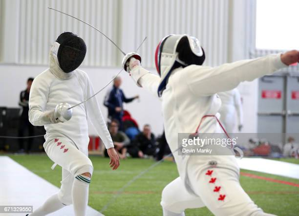 Canadian Fencers compete in the Senior Men's Epee event on April 21 2017 at the Canadian National Fencing Championships at the Complexe Branchaud...
