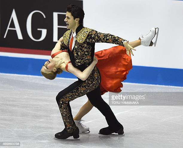 Canadian figure skaters Kaitlyn Weaver and Andrew Poje perform during the short dance routine in the ice dance event at the ISU World Team Trophy...