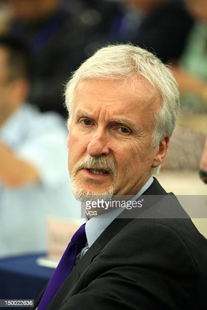 Canadian film director James Cameron attends a launching ceremony of CameronPace Group at National Museum of China on August 8 2012 in Beijing China