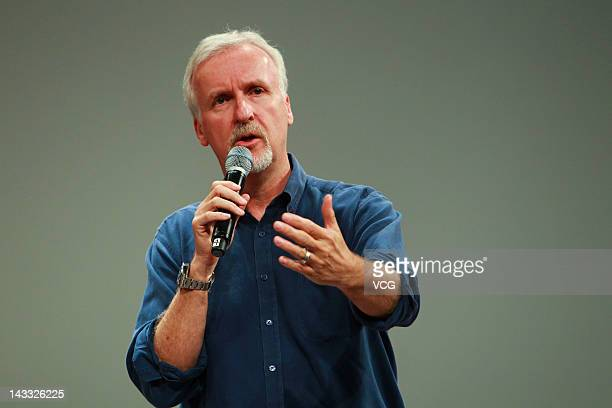 Canadian film director James Cameron speaks at Beijing Film Academy on April 23 2012 in Beijing China