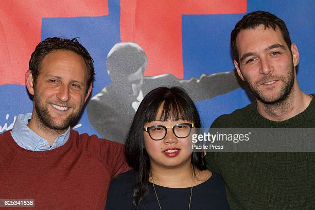 Canadian film director Joyce Wong with producers Matt Greyson and Harry Cherniak at Torino Film Festival in Italy
