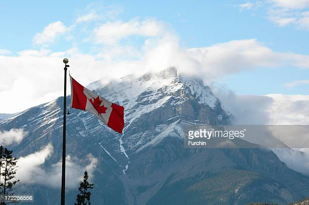 Canadian Flag and Mountain