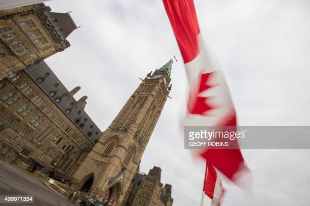 A Canadian flag flies in front of the peace tower on Parliament Hill in Ottawa Canada on December 4 as part of the ceremonies to the start Canada's...