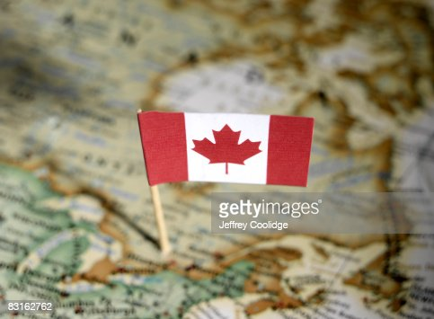 Canadian flag in map : Stock Photo