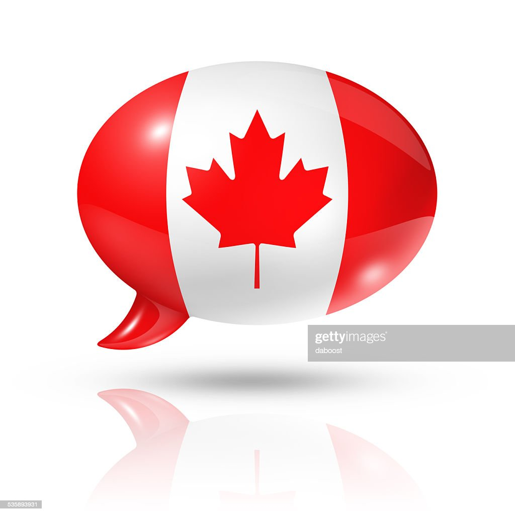 Canadian flag speech bubble : Stock Photo