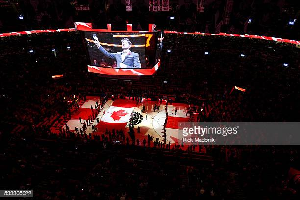 Canadian flat on the court for the anthem Toronto Raptors vs Cleveland Cavaliers in 1st half action of Game 3 of Eastern Conference Finals of NBA...