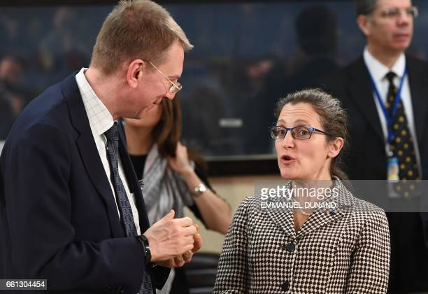 Canadian Foreign Minister Chrystia Freeland and Latvian Foreign Minister Edgars Rinkevics attend a NATO foreign ministers' meeting at the NATO...
