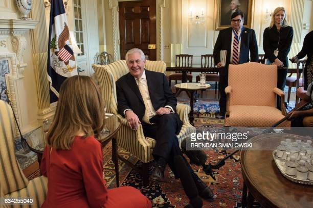 Canadian Foreign Minister Chrystia Freeland and US Secretary of State Rex Tillerson speak before a meeting at the US Department of State February 8...