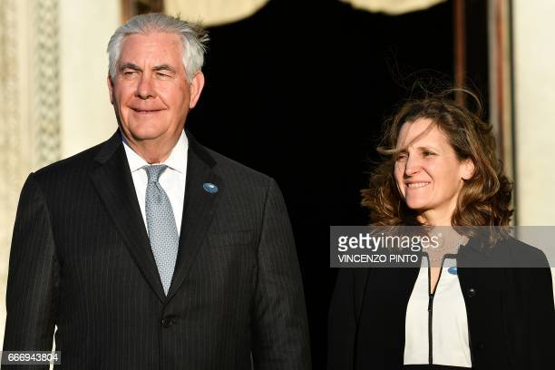 Canadian Foreign Minister Chrystia Freeland and US Secretary of State Rex Tillerson take their position for a family picture during a meeting of...