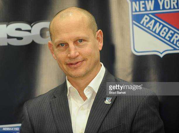 Canadian former professional hockey player Adam Graves attends the 2015 New York Rangers Playoff Foods Unveiling attends the at Madison Square Garden...