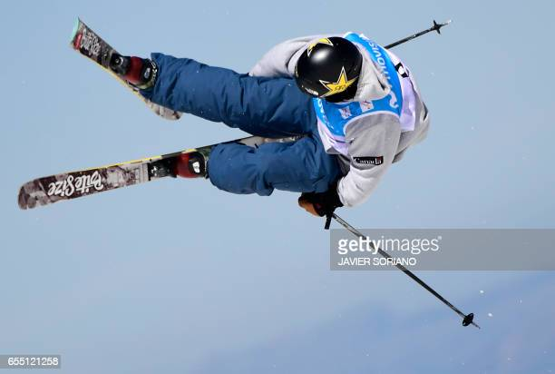 Canadian freestyler Alex Bellemare competes during the men's SlopeStyle finals at the FIS Snowboard and Freestyle Ski World Championships 2017 in...