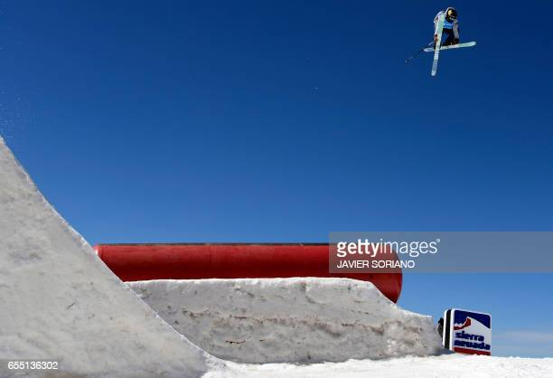 CORRECTION Canadian freestyler Alex Bellemare competes during the men's SlopeStyle finals at the FIS Snowboard and Freestyle Ski World Championships...