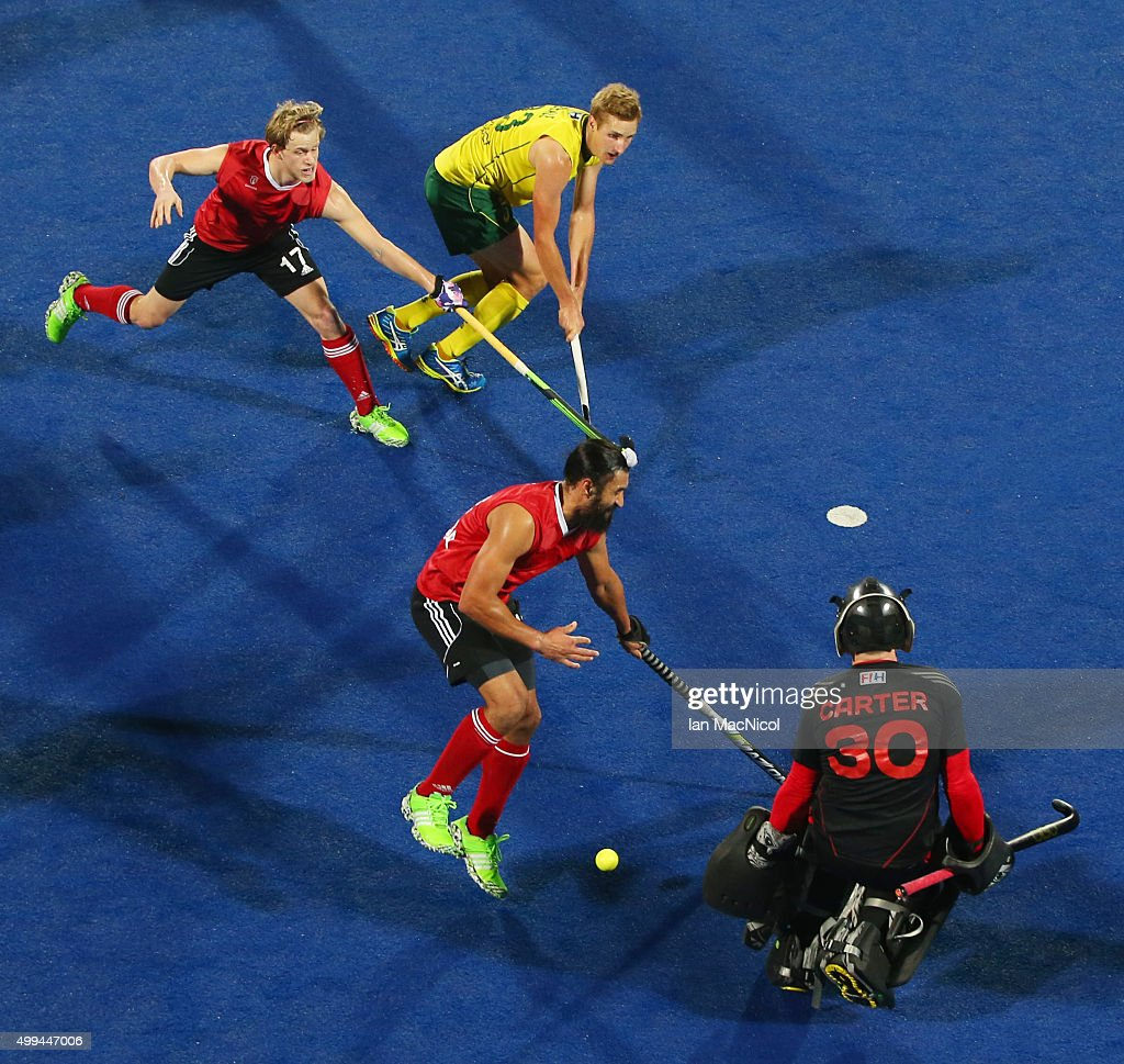 Canadian goalkeeper David Carter is beaten by the shot of <a gi-track='captionPersonalityLinkClicked' href=/galleries/search?phrase=Daniel+Beale&family=editorial&specificpeople=10009142 ng-click='$event.stopPropagation()'>Daniel Beale</a> of Australia during the match between Australlia and Canada on day five of The Hero Hockey League World Final at the Sardar Vallabh Bhai Patel International Hockey Stadium on December 01, 2015 in Raipur, India.