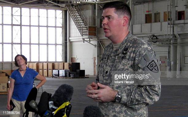 Canadian Guantanamo captive Omar Khadr's Pentagon appointed defense lawyer Army Lt Col Jon Jackson briefs reporters on August 8 2010 at Camp Justice...