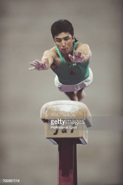Canadian gymnast Alan Nolet of the Canada team competes to finish in 74th place in the Men's Horse Vault event part of the Men's artistic gymnastics...