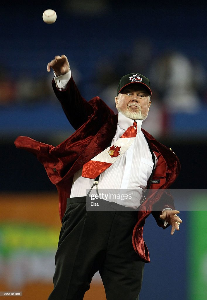 Canadian hockey broadcast legend Don Cherry throws out the ceremonial first pitch during the 2009 World Baseball Classic Pool C match on March 9, 2009 at the Rogers Centre in Toronto, Ontario, Canada.