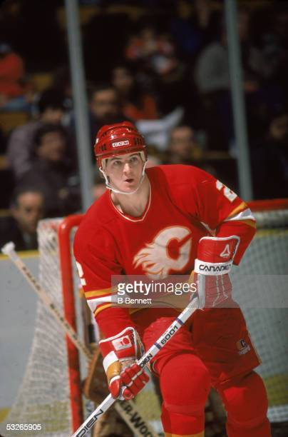 Canadian hockey player Al MacInnis of the Calgary Flames on the ice during a game 1980s
