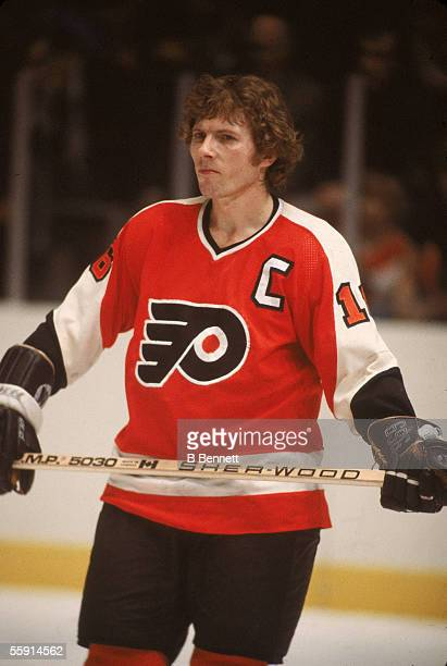 Canadian hockey player Bobby Clarke of the Philadelphia Flyers skates on the ice February 1979