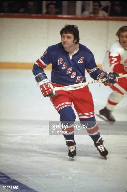 Canadian hockey player Brad Park of the New York Rangers skates on the ice during a game against the Detroit Red Wings at the Olympia Detroit...