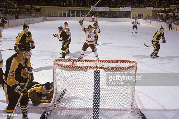 Canadian hockey player Brett Hull of the University of MinnesotaDuluth celebrates a goal on the ice 1985