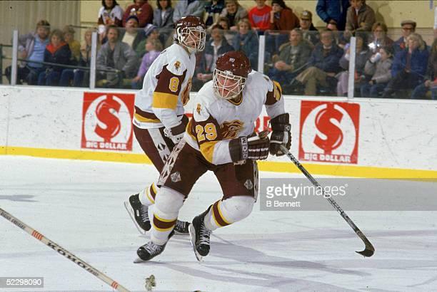 Canadian hockey player Brett Hull of the University of MinnesotaDuluth skates up the ice 1985