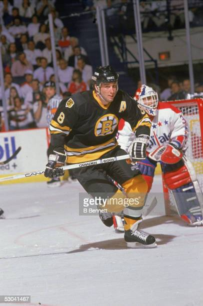 Canadian hockey player Cam Neely of the Boston Bruins skates in front of the net during a game against the Washington Capitals Landover Maryland 1990s