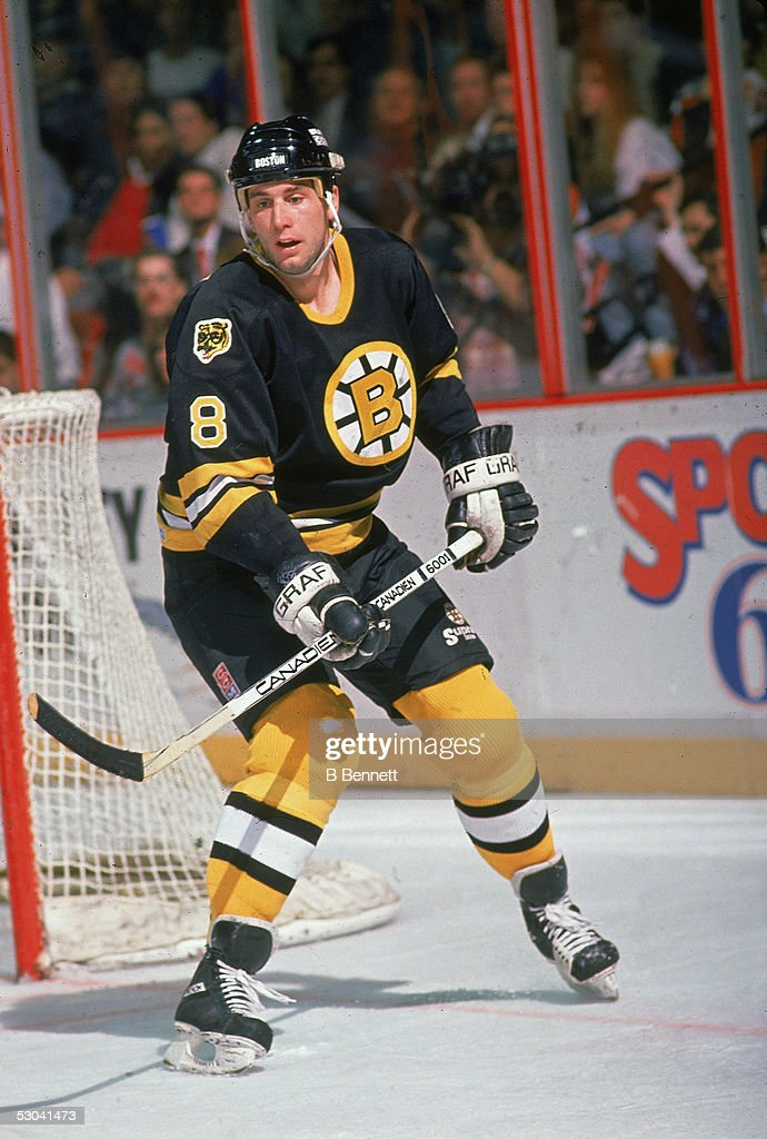 Canadian hockey player Cam Neely of the Boston Bruins skates near the side of the net during a game against the Philadelphia Flyers at the Spectrum...