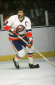 Canadian hockey player Clark Gillies of the New York Islanders skates on the ice early 1980s