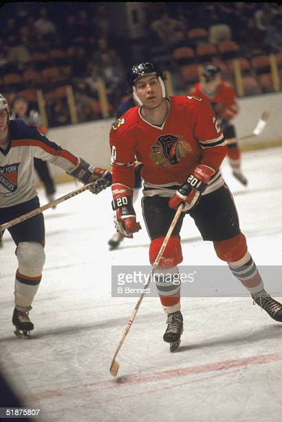 Canadian hockey player Cliff Koroll of the Chicago Black Hawks on the ice during a game against the New York Rangers at Madison Square Garden New...