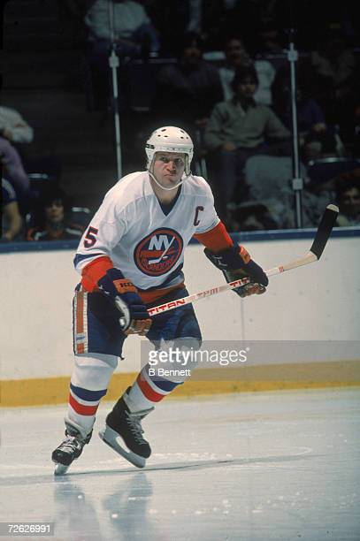 Canadian hockey player Denis Potvin of the New York Islanders on the ice 1970s or 1980s