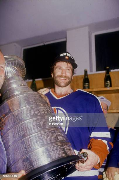 Canadian hockey player Glenn Anderson of the Edmonton Oilers celebrates his teams's Stanley Cup victory over the Boston Bruins at Boston Garden...