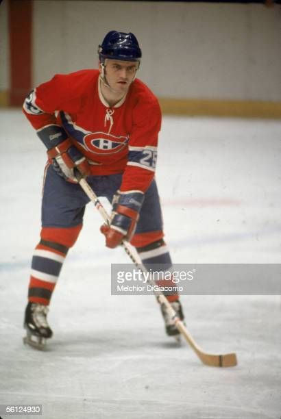 Canadian hockey player Jacques Lemaire of the Montreal Canadiens on the ice during a game 1970s