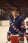 Canadian hockey player Jean Ratelle of the New York Rangers on the ice during a game April 1975