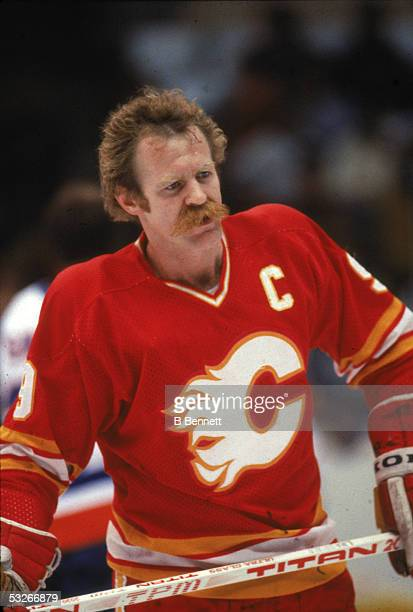 Canadian hockey player Lanny McDonald of the Calgary Flames on the ice during a game 1980s