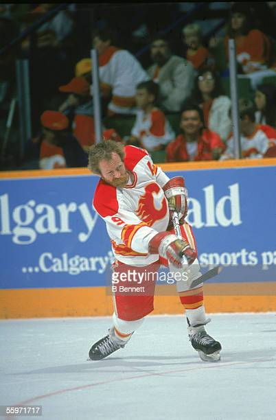 Canadian hockey player Lanny McDonald of the Calgary Flames skates on the ice 1980s