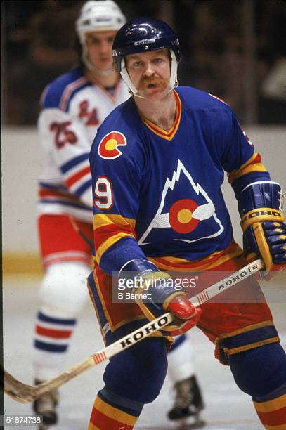Canadian hockey player Lanny McDonald of the Colorado Rockies skates on the ice during a game against the New York Rangers at Madison Square Garden...