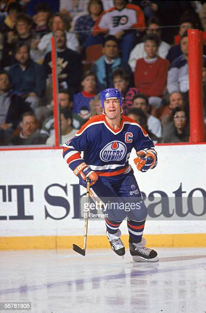 Canadian hockey player Mark Messier of the Edmonton Oilers skates on the ice during the 1990 91 season
