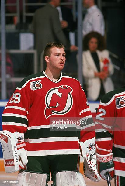 Canadian hockey player Martin Brodeur goalkeeper for the New Jersey Devils skates on the ice during a game at Madison Square Garden in the 199192...
