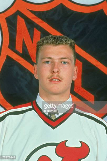 Canadian hockey player Martin Brodeur poses in the uniform of the New Jersey Devils after he became their first round selection in the NHL Entry...