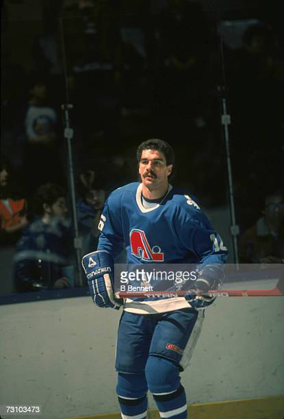 Canadian hockey player Michel Goulet of the Quebec Nordiques on teh ice during a game March 1985
