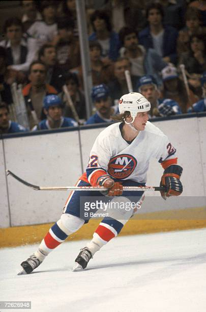 Canadian hockey player Mike Bossy of the New York Islanders on the ice April 1982