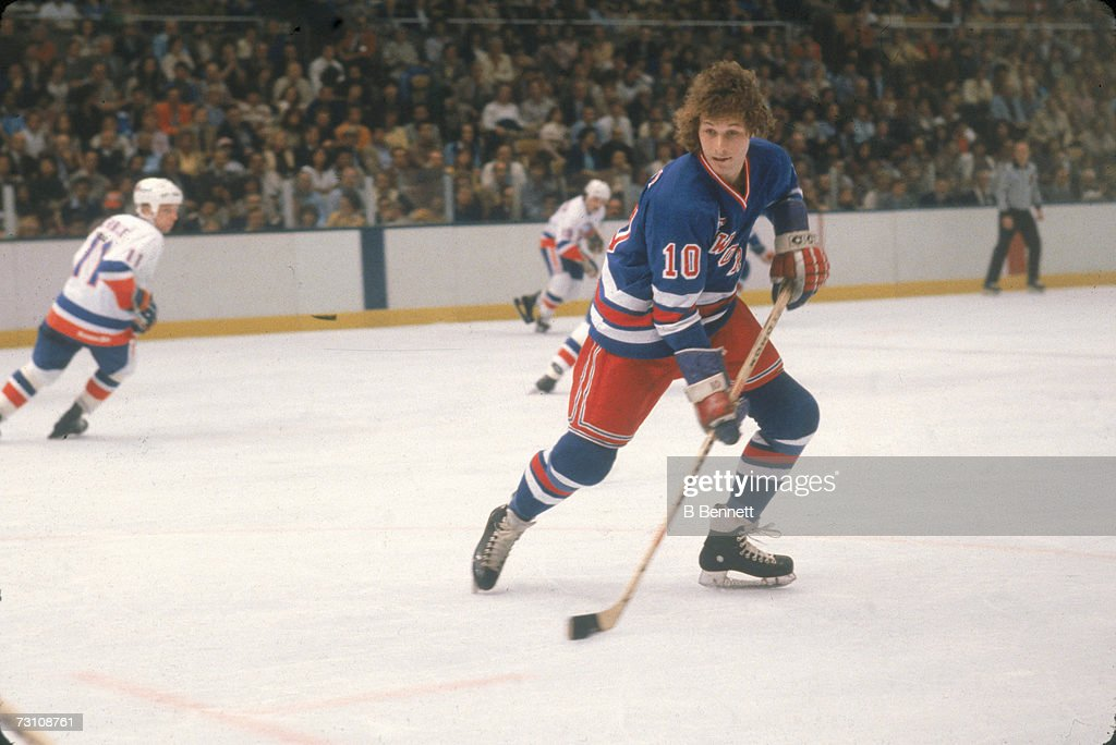 Canadian hockey player Ron Duguay of the New York Rangers on the ice during a game against the New York Islanders, May 1981.