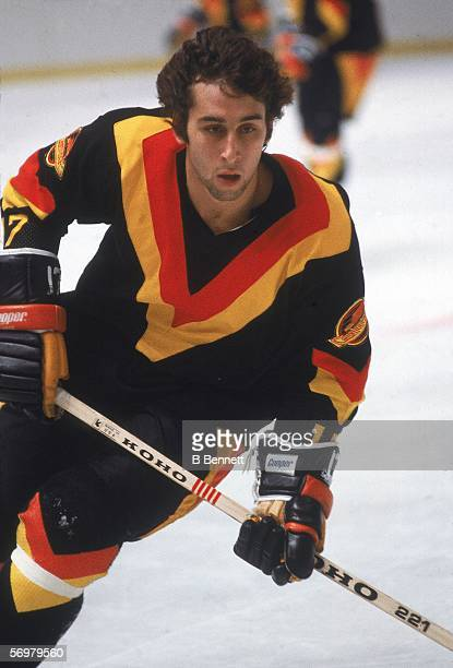 Canadian hockey player Ron Sedlbauer of the Vancouver Canucks skates on the ice during the pregame warmup before an away game October 1978