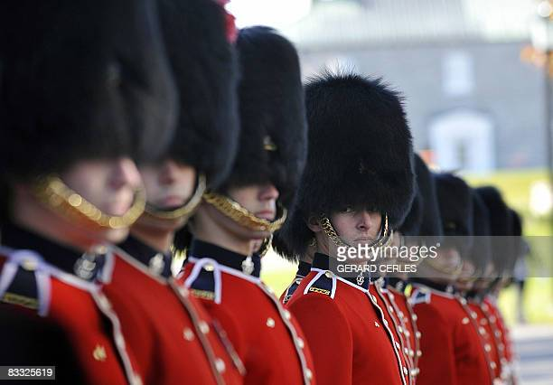 A Canadian honor guard prepares to welcome dignitaries at La Citadelle for the 12th Francophonie Summit on October 17 2008 in Quebec City Canada The...