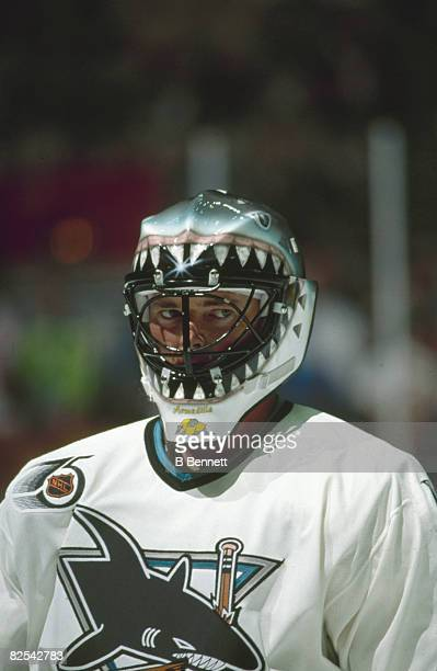 Canadian ice hockey player Brian Hayward goalkeeper for the San Jose Sharks on the ice during a game early 1990s