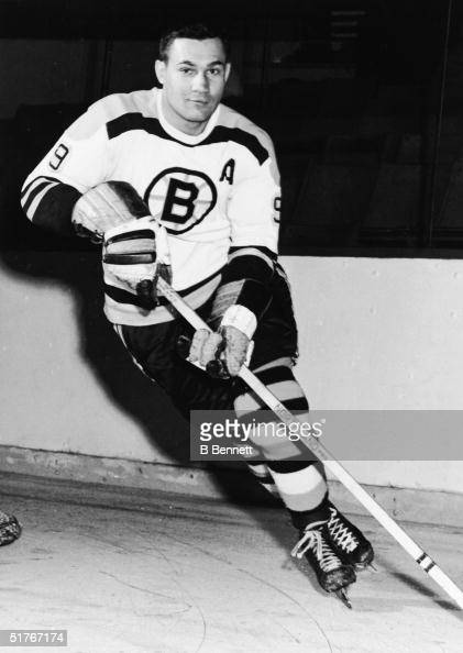 Canadian ice hockey player Johnny Bucyk in the uniform of the Boston Bruins skates on the ice 1960s