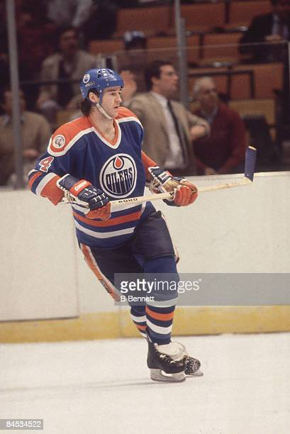 Canadian ice hockey player Kevin Lowe of the Edmonton Oilers on the ice during a game March 1983