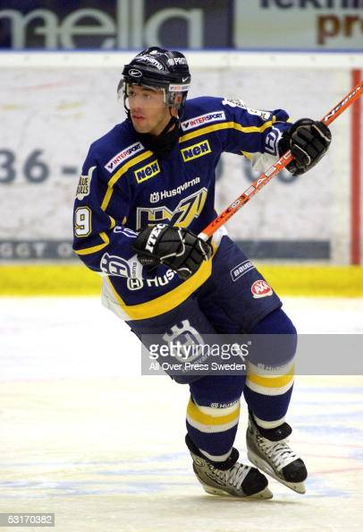 Canadian ice hockey player Manny Malhotra of HV71 turns to join the play during a game in the Swedish Elitserien hockey league circa January 2005...