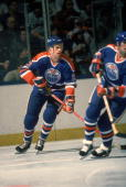 Canadian ice hockey player Randy Gregg of the Edmonton Oilers on the ice during a game March 1985