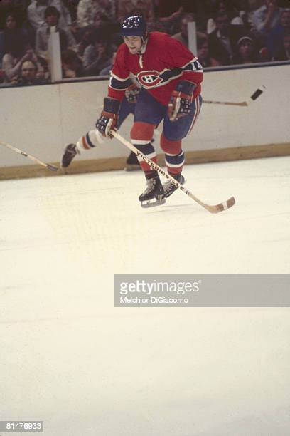 Canadian ice hockey player Rejean Houle of the Montreal Canadiens on the ice during a game early 1970s or late 1970s to early 1980s